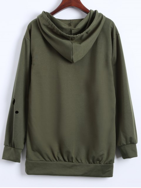 latest Ripped Hoodie - ARMY GREEN S Mobile