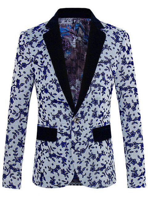 lady Floral Pattern One-Button Lapel Long Sleeve Blazer For Men -   Mobile