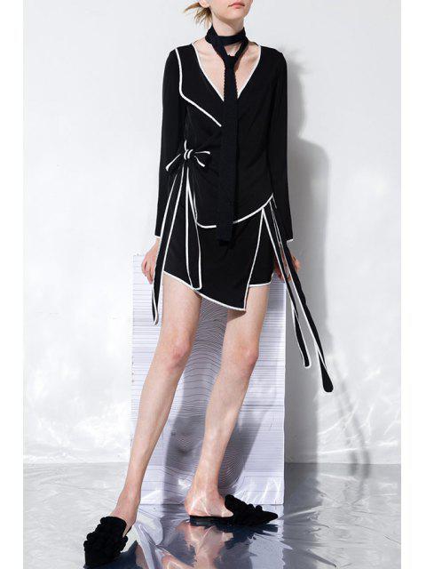 best Wrap Asymmetric Dress - BLACK L Mobile