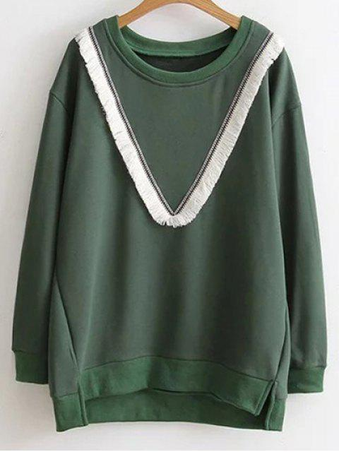 trendy Color Block Fringed Sweatshirt - GREEN 2XL Mobile
