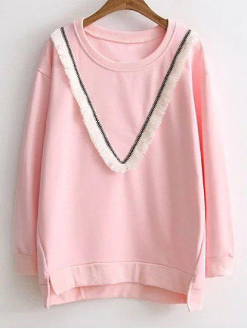 fancy Color Block Fringed Sweatshirt - PINK 3XL Mobile