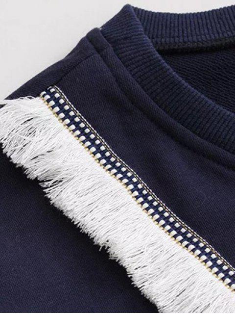 women Color Block Fringed Sweatshirt - PURPLISH BLUE XL Mobile