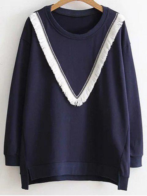 Sweat bloc de couleur à franges - Bleu Violet XL Mobile