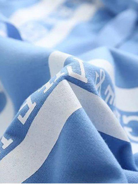 latest Bowknot Letter Hoodie - LIGHT BLUE XL Mobile
