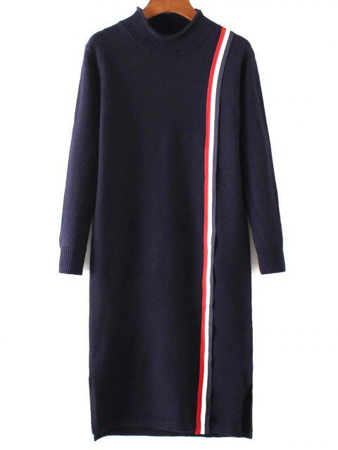 buy Colorful Stripe Sweater Dress - PURPLISH BLUE ONE SIZE Mobile