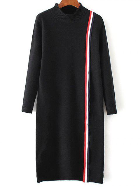 Vestido de tejido colorido de la raya - Negro Única Talla Mobile