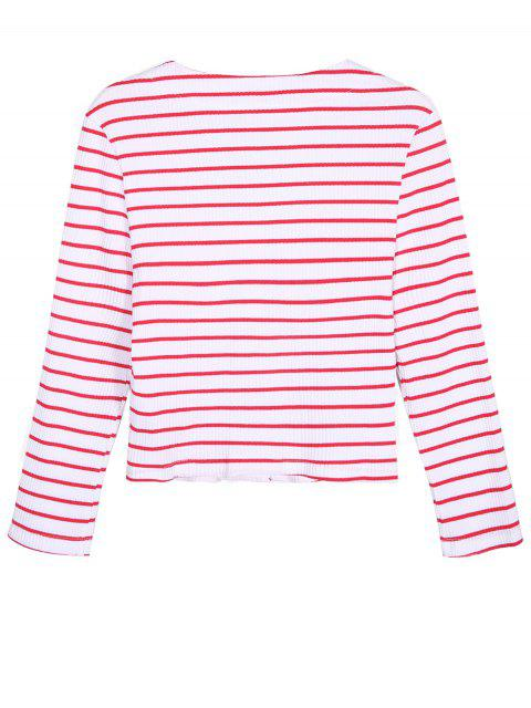 shop Ribbed Stripe Cropped Cardigan - RED WITH WHITE XL Mobile