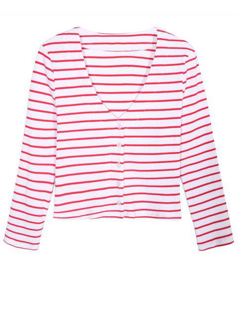 latest Ribbed Stripe Cropped Cardigan - RED WITH WHITE 2XL Mobile