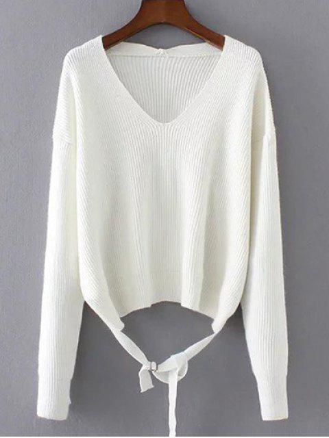 online Loose String Sweater - WHITE ONE SIZE Mobile