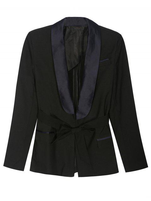 lady Pajama Style Belted Blazer - BLACK M Mobile