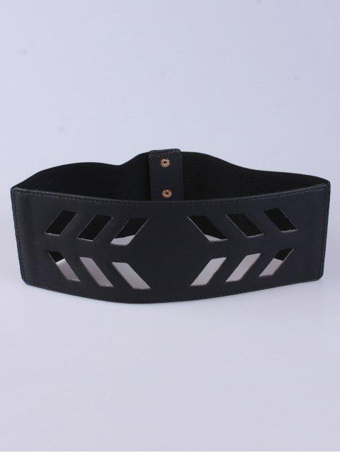 shops Cut Out Geometry Wide Stretch Belt - BLACK  Mobile