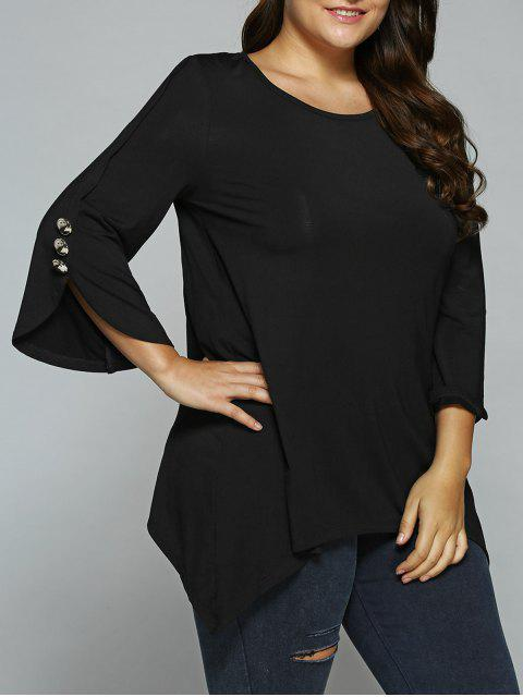 outfit Button Decorated Sleeves Asymmetrical Blouse - BLACK 5XL Mobile