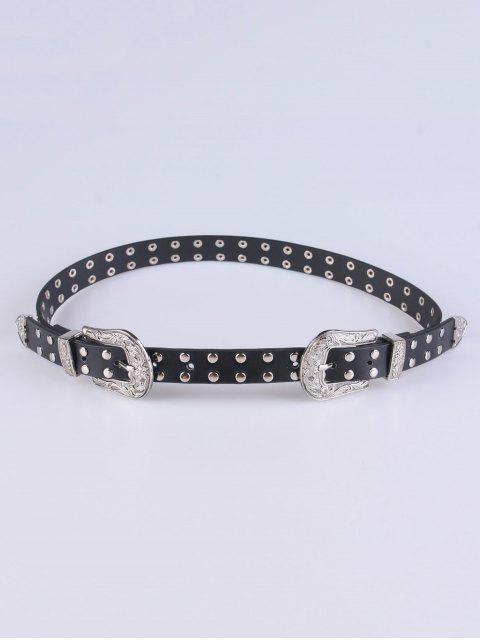 fashion Double Pin Buckles Rivet Belt - BLACK  Mobile