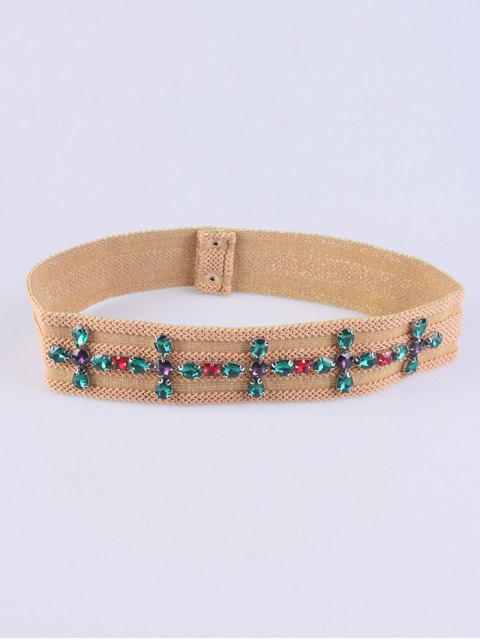 fancy Faux Crystal Knitted W Stretch Belt - LIGHT CAMEL  Mobile