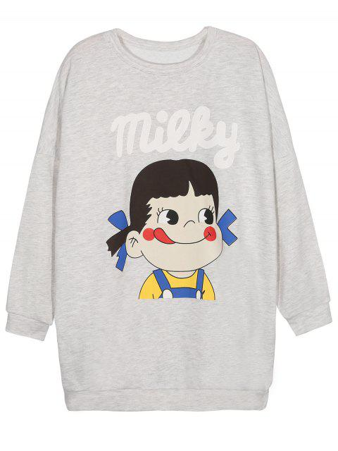 lady Short Sleeve Graphic Sweatshirt - GRAY L Mobile