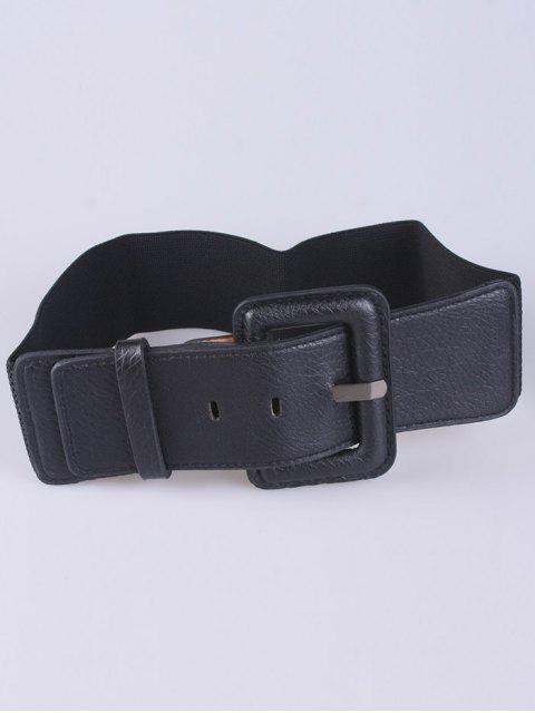 buy PU Pin Buckle Stretch Belt - BLACK  Mobile