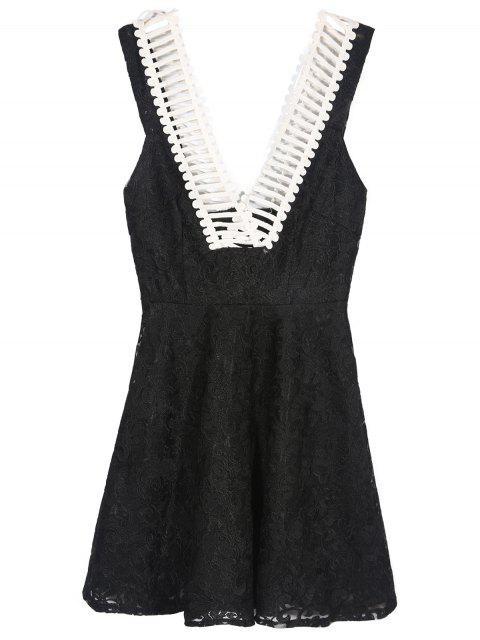Profundo cuello en V vestido del patinador - Negro M Mobile