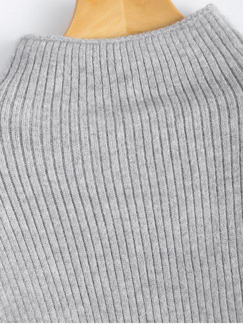 affordable Ribbed Puff Sleeve Mock Neck Sweater - LIGHT GRAY ONE SIZE Mobile