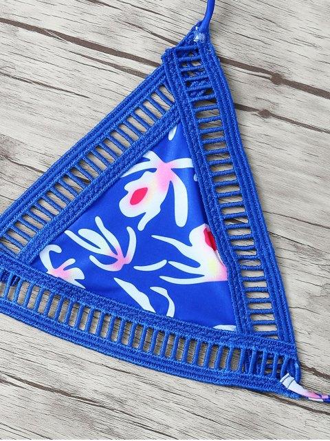women's Hollow Out Printed Bikini - BLUE S Mobile