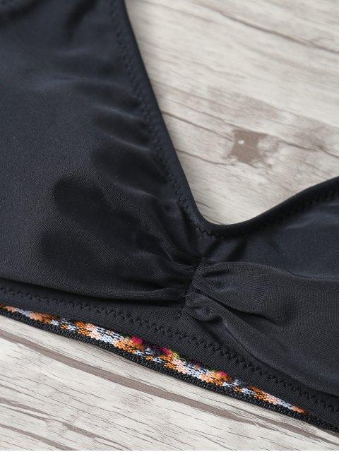 Bikini découpé imprimé à bretelle - Noir M Mobile