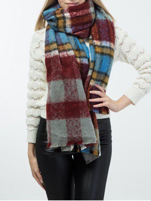 hot Frayed Edge Tartan Shawl Wrap Scarf - WINE RED  Mobile