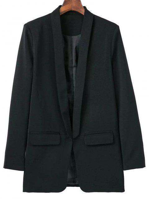 womens Lapel Blazer With Flap Pockets - BLACK L Mobile