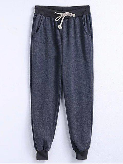 ladies Drawstring Jogger Running Pants - GRAY 2XL Mobile