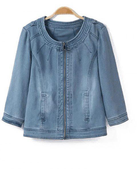 online Round Neck Denim Jacket - LIGHT BLUE S Mobile