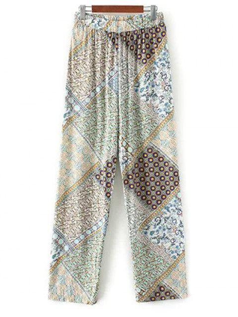 outfit Boho Printed Palazzo Pants - GREEN L Mobile