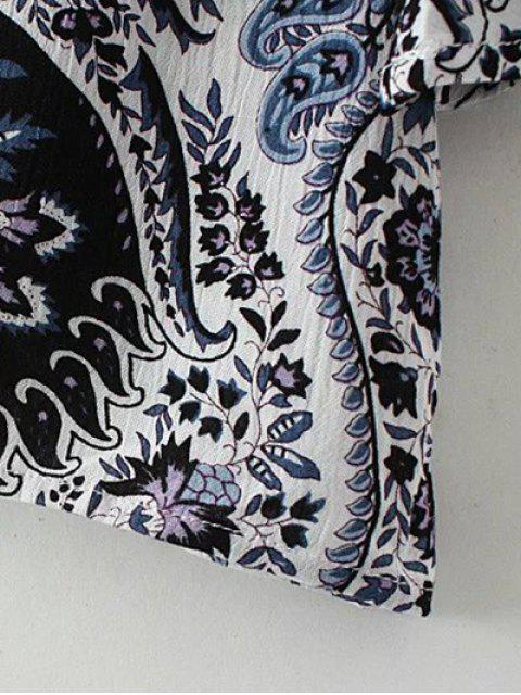 Veste à dos ouvert à motifs cachemire plissé - Rouge S Mobile