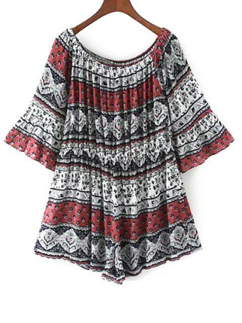 womens Off Shoulder Printed Boho Romper - RED M Mobile