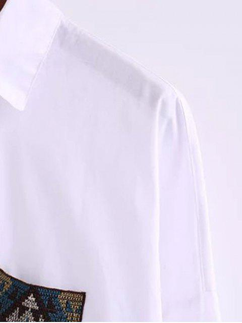 trendy Oversized Shirt With Pockets - WHITE L Mobile