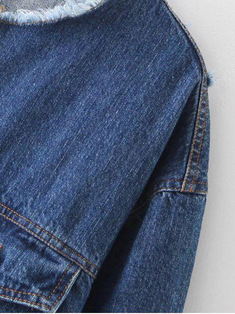 outfits Raw Cut Patched Back Denim Jacket - BLUE L Mobile
