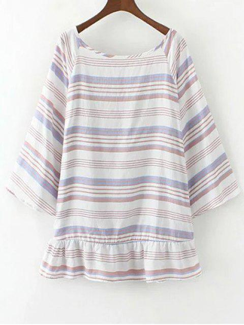 ladies Striped Low Back Tunic Top - PURPLE M Mobile