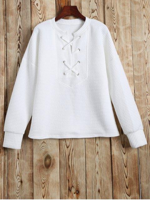 Round Neck Lace Up Sweatshirt - Weiß XL Mobile