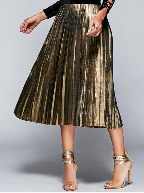 best High Waisted Pleated Midi Skirt - CHAMPAGNE S Mobile