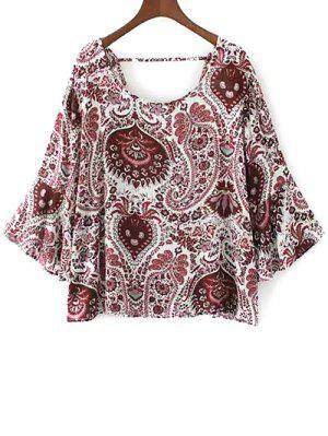 Paisley Print Frilly Top - Red M