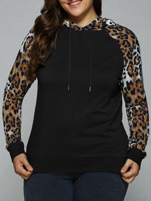 Plus Size Leopard Trim Raglan Sleeves Hoodie - Leopard Xl