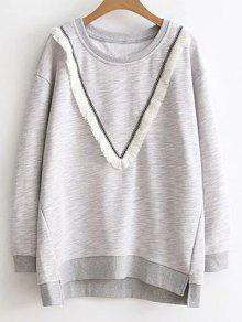 Color Block Fringed Sweatshirt - Gray 3xl