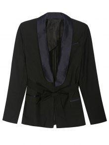 بليزر بموضة بيجاما مربوط - أسود S