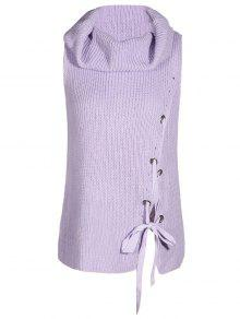 Cowl Neck Sleeveless Sweater - Light Purple M