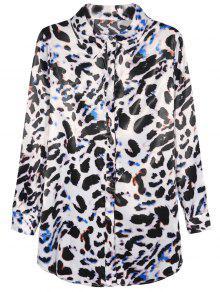 Leopard Print Chiffon Shirt - Leopard M