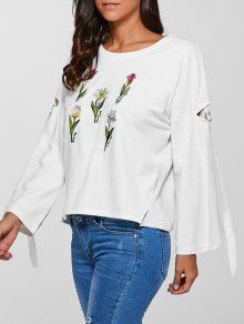 Floral Brodé Side Slit Sweatshirt - Blanc