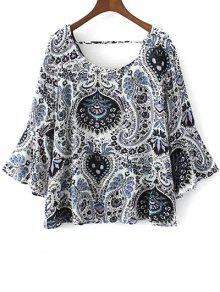 Buy Paisley Print Frilly Top - BLUE L
