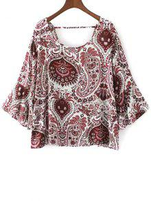 Buy Paisley Print Frilly Top - RED L