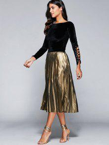 32% OFF  2019 High Waisted Pleated Midi Skirt In CHAMPAGNE S   ZAFUL 2885f685c5