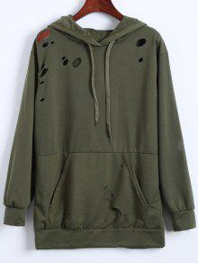 Ripped Hoodie - Army Green S