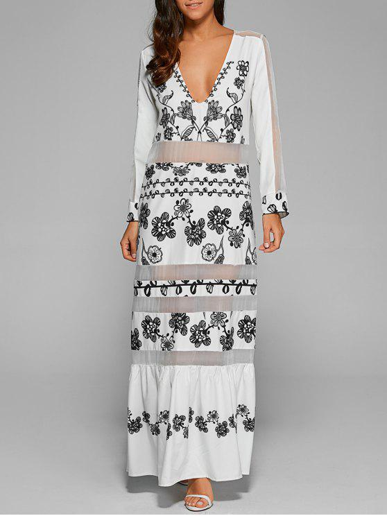 shops Mesh Panelled Long Dress With Sleeves - WHITE L