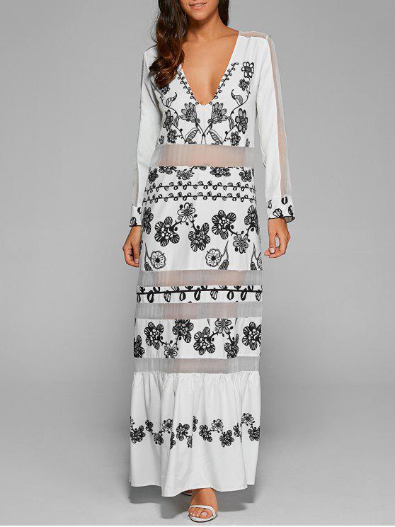 شبكة فستان طويل مع الأكمام - أبيض S