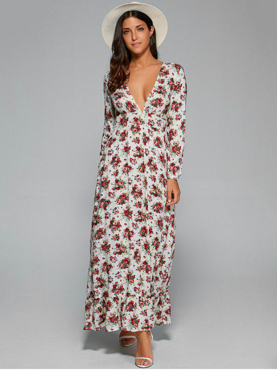 fancy Empire Waist Maxi Floral Plunging Neckline Dress - WHITE S